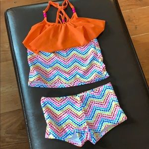 🔥 5 For $15 🔥 Girls Lands End two piece swimsuit